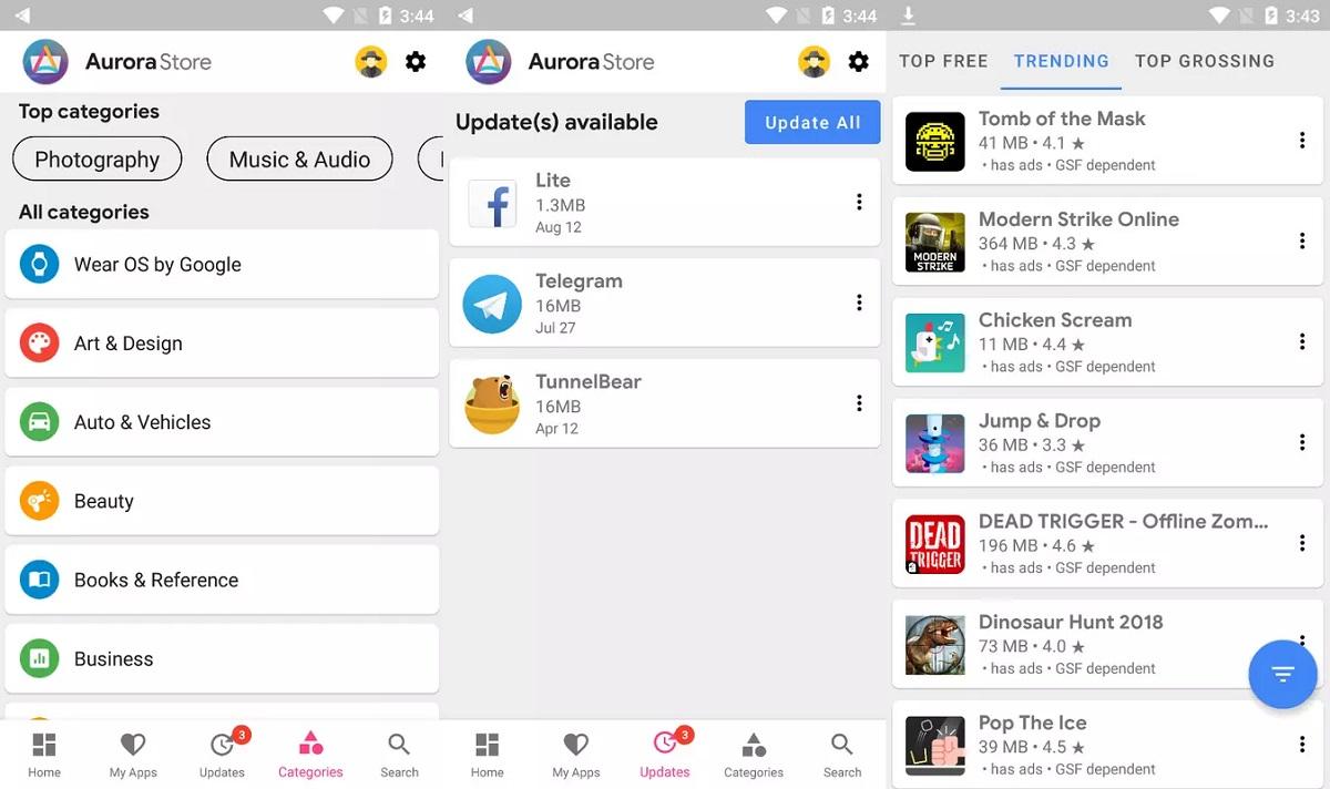Descarga Alternativa al Play Store con Aurora Store